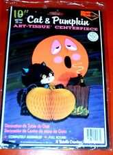 Beistle Cat & Pumpkin ArtTissue Halloween CENTERPIECE copyright 1977   No. 01759