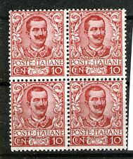 regno 1901 floreale 10 cent RARA quartina centrata cat 1.700+