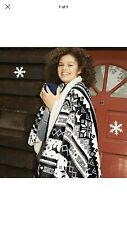 New Victoria's Secret Pink Fairisle Fleece Blanket Black White Logo