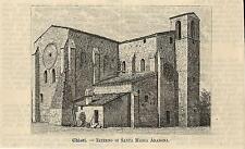 Stampa antica CHIETI Chiesa di Santa Maria Arabona 1891 Abruzzo antique print