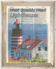 West Quoddy Head Maine Lighthouse Altered Art Print Upcycled Vintage Dictionary