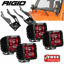 Rigid A-Pillar Mounts Radiance Red BackLight LED Lights(4) for Jeep Wrangler JK