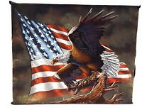 VELVET FLYING EAGLE WITH AMERICAN FLAG ART MAN CAVE MILITARY INDEPENDENCE DAY