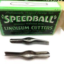 Vintage SPEEDBALL Block Printing Linoleum Cutters #2 V Shaped  Box of 12