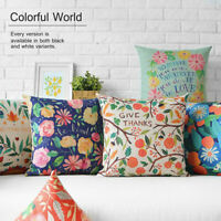"""10 Styles Colorful Flowers Floral Quote Linen Pillow Case Cushion Cover 18""""x18"""""""