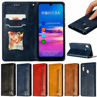 Zipper Wallet Leather Flip Case Cover For Huawei Y7 2019 P30 Lite Honor 20 Lite