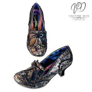 Irregular Choice Women's Shoes Black Faux Suede Silver Snake Print Size 4 Uk