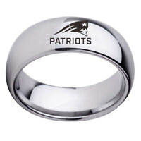 New England Patriots Football Team Stainless Steel Men Rings Black Silver