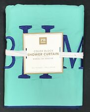 "Pottery Barn Kids Pool/Royal Navy Color Block Shower Curtain ""BHM"" Monogram"