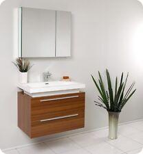 "Fresca Medio 32"" Teak Modern Bathroom Vanity w/ Medicine Cabinet and Faucet"
