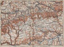 SCHWÄBISCHE ALB. Swabian Jura topo-map. Ulm Rottenburg Gmünd Kirchheim 1910