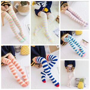 Girls Striped Coral Fleece Stockings Long Overknee Leg Warmers Thick Winter