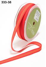 "3/8"" Grosgrain Ribbon w/ Horizontal Lines-May Arts - 333-38 Red/Orange - 5 Yds."