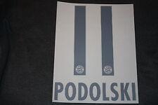 FC Bayern München PODOLSKI FAN Size Flock für adidas Away Trikot 2006-08-10-2012