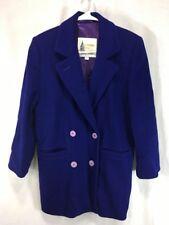 VTG London Fog Peacoat Jacket Womens 8 Medium Double Breasted Purple 100% Wool