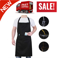Will Well Kitchen Bib Apron Black Chef Cooking Apron With Pockets & Adjustable