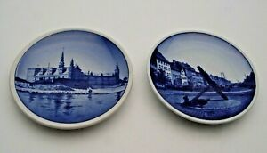 TWO ROYAL COPENHAGEN BLUE & WHITE PIN DISHES #55 & #5 - PERFECT