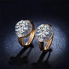 18K Gold Plated Crystal Elegant Women Wedding Jewelry Hoop Huggie Earrings New