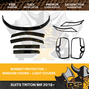 Mitsubishi Triton MR 2018+ Bonnet Protector, Window visors and Light covers