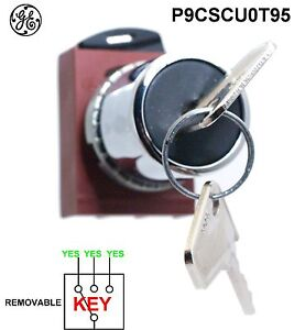 GE P9CSCU0T95 General Electric Key Selector Switch  3 POS. Maintained + Flange