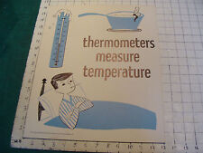 vintage 1950's Instructor kindergarden measure POSTER #9 THERMOMETERS MEASURE TE