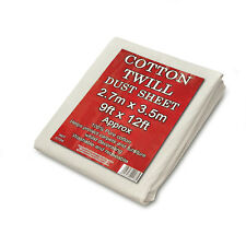 Cotton Twill Dust Sheets Various Sizes DIY Builder Decorating Cover 9ft X 12ft