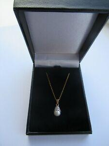 Sparkling 9ct Gold Diamond & Pearl Pendant Necklace