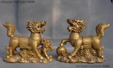 Chinese Feng Shui brass auspicious wealth Kylin Chi-lin Qilin Beast statue pair