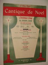 Christmas O Holy Night Cantique de Noel by Adam 1935 medium / low voice piano