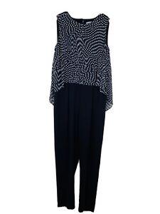 Katies Size 12 Jumpsuit Black White Polka Dot Overlay Sleeveless