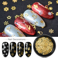 3D Nail Glitter Sequins Christmas Snowflake Snowman Nail Art Tips Decor Manicure