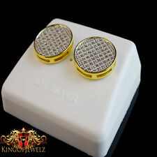 REAL DIAMOND MENS LADIES CIRCLE DESIGNER 14K YELLOW GOLD FINISH STUD EARRINGS