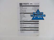 Yamaha Quick Reference Service Manual Spec Sheet Yfm35Fx Wolverine 4Wd 1995-2005