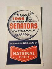 Washington Senators 1966 MLB Baseball Pocket Schedule - National Beer- creases