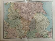 1898 CENTRAL & NORTHERN ENGLAND ANTIQUE COLOUR MAP BY JOHN BARTHOLOMEW