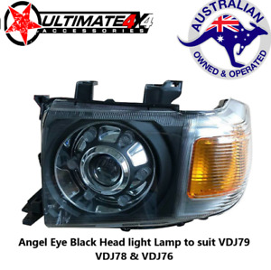 Angel Eye Halo Black Head light Lamp Suit Toyota Landcruiser 79/76/78 Series