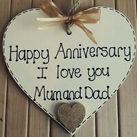 personalised wedding anniversary gift for mum & dad/ parents- wooden heart