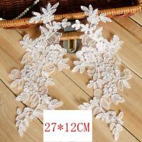 1Pair Embroidered Flower Lace Applique Motif Trim Wedding Dress Sew Crafts DIY 3