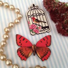 Wood brooch Butterfly, birdcage wooden jewellery set, Pretty pin jewelry