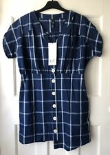 ZARA BLUE CHECKED SUMMER BUTTON UP MINI DRESS SIZE M BNWT
