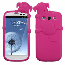 For Samsung Galaxy III 3 Rubber SILICONE Skin Gel Case Phone Cover Hot Pink Dog