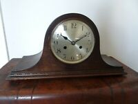 Antique Oak Napoleon's Hat Mantel Clock with Ting Tang Chime (Key Pendulum Time)