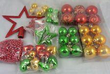Décorations Arbre de Noël Paquet 50 Boules Rouge Vert et or Mélange