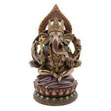 "Seated Ganesha on Lotus Statue 8"" Hindu Elephant God Bronze Resin HIGH QUALITY"