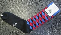 New HS by Happy Socks Men's Extended Size Combed Cotton Blue Rd Socks 13-16 NWT