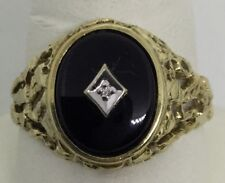 Diamond Black Onyx Mens Ring - 1980s (J784)