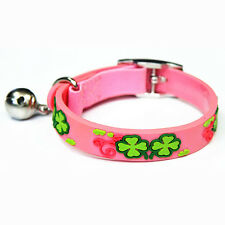 Pink Four Leaf Clover Lucky Cat Kitten Waterproof Safety Collars - 22cm