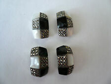 LARGE Sterling Silver Marcasite Mother Of Pearl and ONYX  Post Earrings 10.5gm