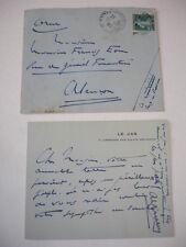 Documents carte & enveloppe Alphonse Métérié (Poète) à Françis Eon