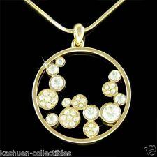 w Swarovski Crystal Floating ~GP CIRCLE OF LOVE~ Bridal Wedding Pendant Necklace
